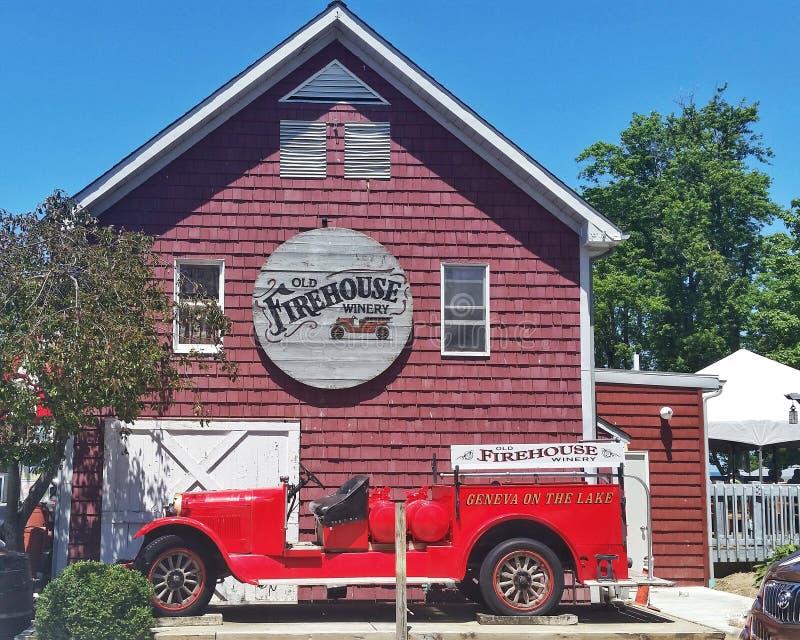 Alte Firehouse-Weinkellerei Genf auf dem See Ohio lizenzfreie stockfotos