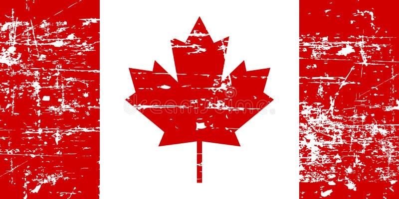 Alte Flagge Kanada-Schmutzes, lokalisiert auf weißem Hintergrund, Illustration lizenzfreie abbildung