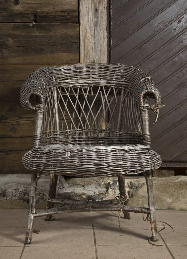 Alte Flechtweide chair1 stockbild