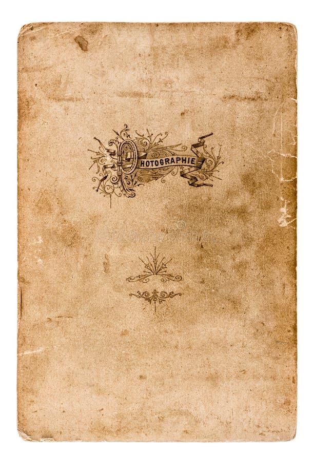 Alte Fotopappe lokalisiert auf Weiß Weinlese Grunge Papier lizenzfreie stockbilder