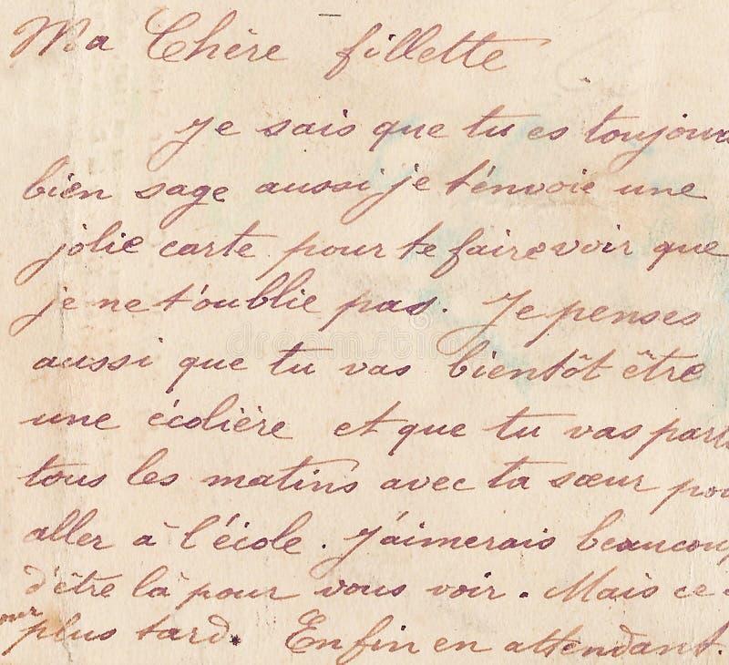 Alte französische Handschrift stockfotos