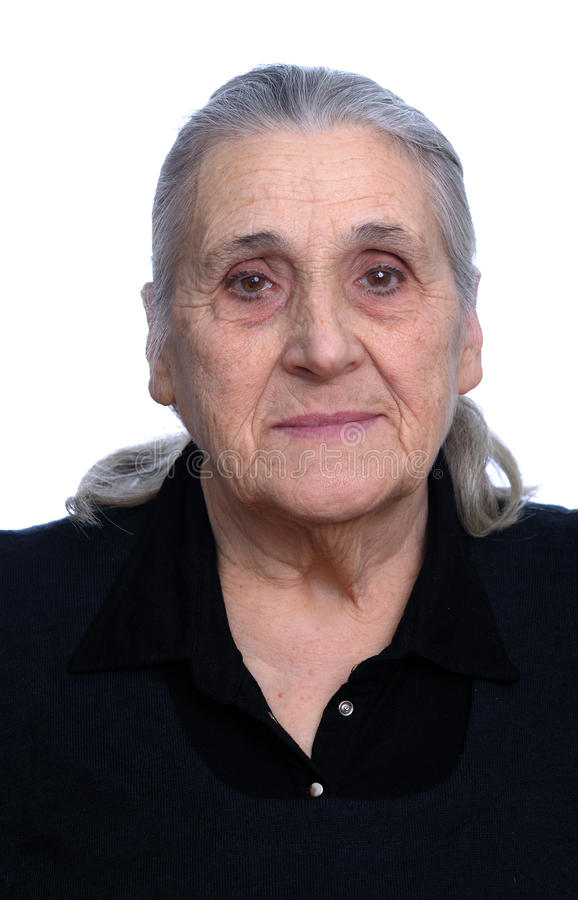 Alte Graue Behaarte Frau Des Portraits, Asien Stockfoto