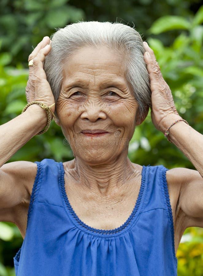 Alte Frau Asien des Portraits lizenzfreie stockfotos