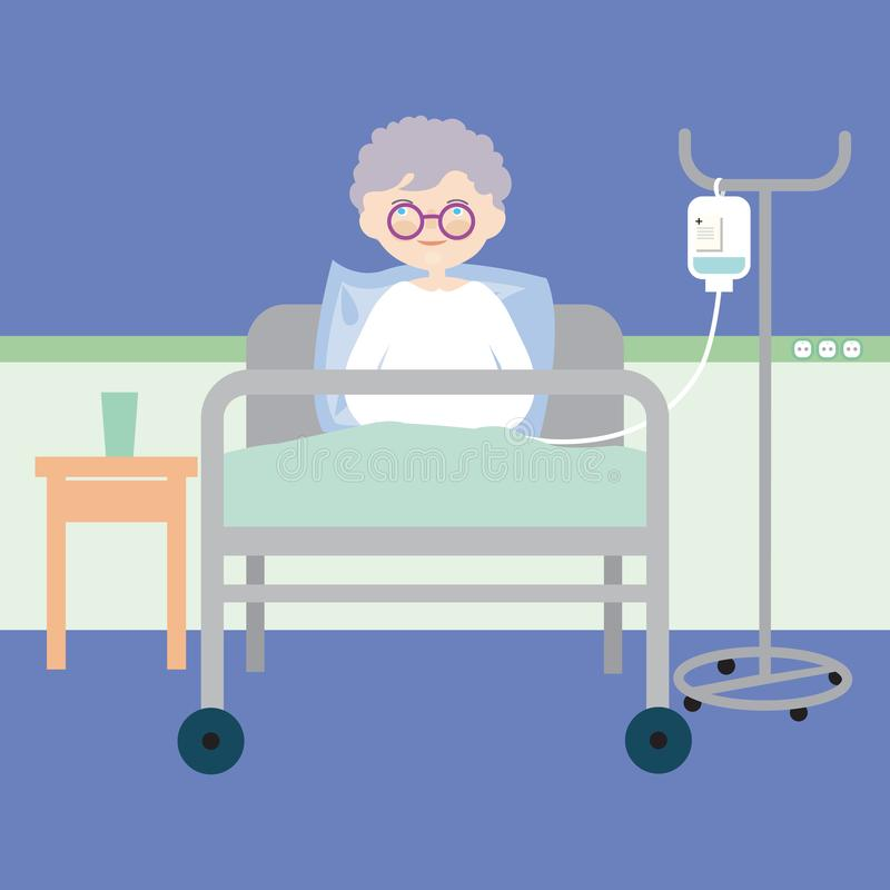 Alte Frau, die im Bett am Krankenhaus liegt und eine intravenöse Injektion oder eine künstliche Nahrung, Vektor hat stock abbildung