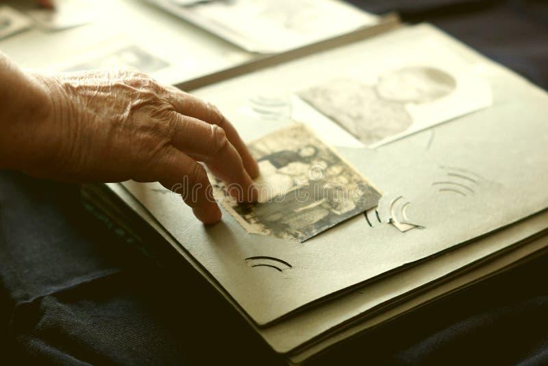 Alte Frau, die nach alten Fotos sucht stockfotografie