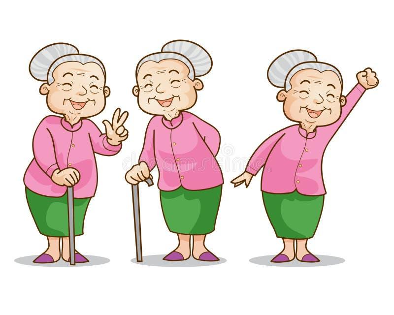 Alte Frau gutartig vektor abbildung