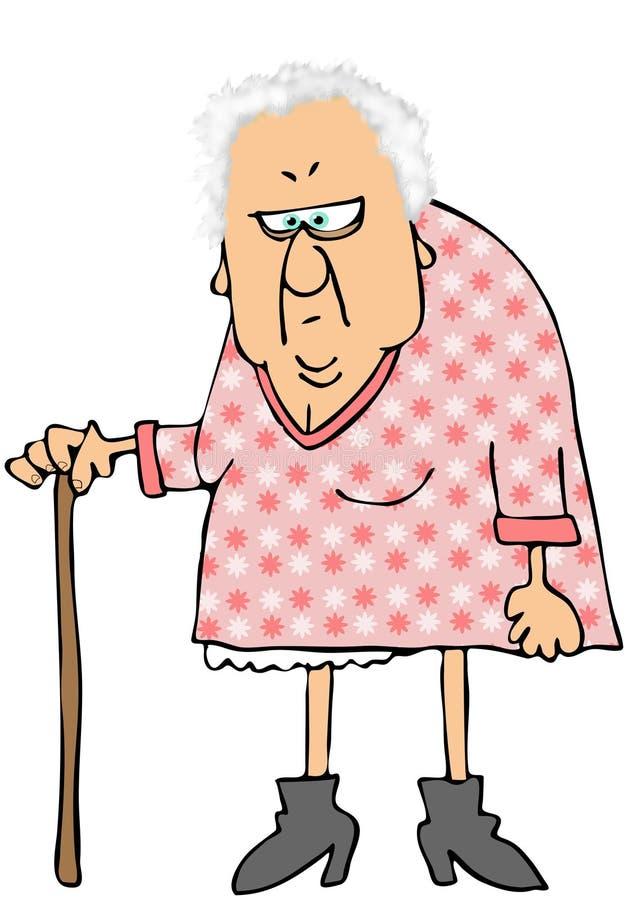 Alte Frau mit einem Stock stock abbildung