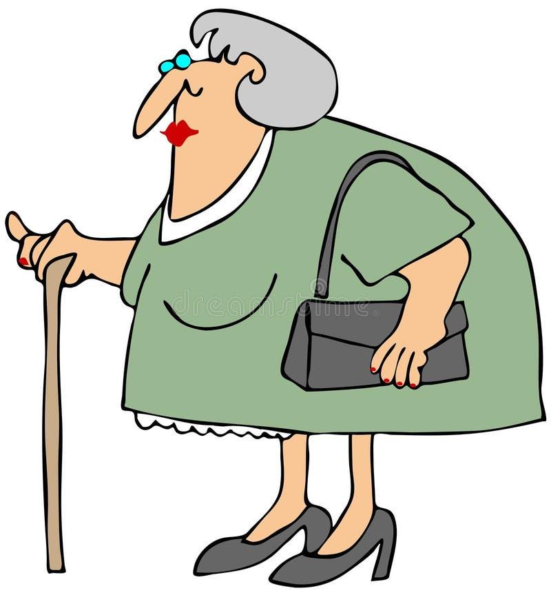 Alte Frau mit einem Stock lizenzfreie abbildung