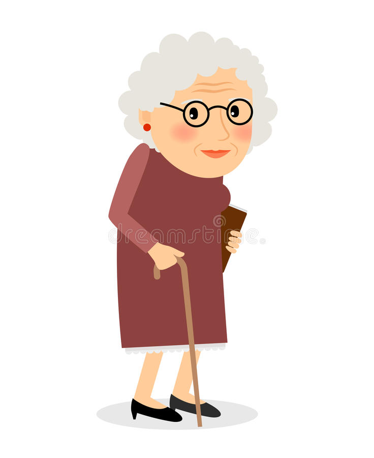 Alte Frau mit Stock lizenzfreie abbildung