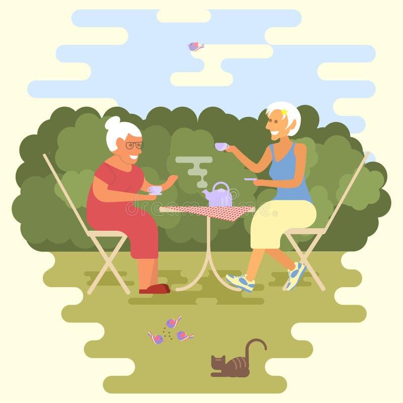 Alte Frauen haben eine Teeparty stock abbildung