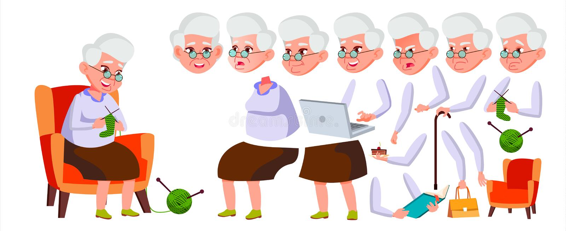 Alte Frauen-Vektor Älterer Person Portrait Ältere Menschen gealtert Animations-Schaffungs-Satz Gesichts-Gefühle, Gesten lustig vektor abbildung