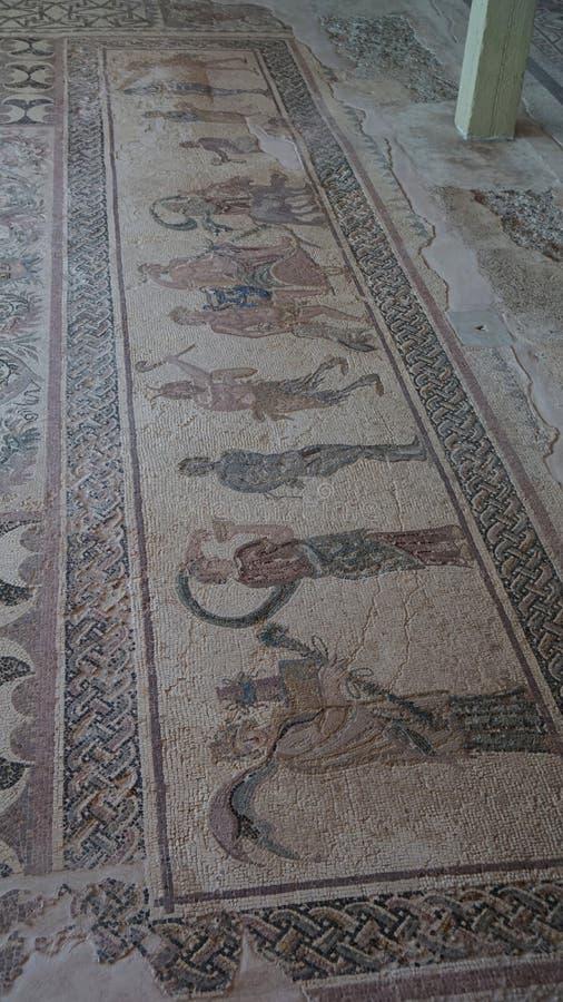 Alte Freskos im Museum in Paphos auf Zypern lizenzfreie stockbilder