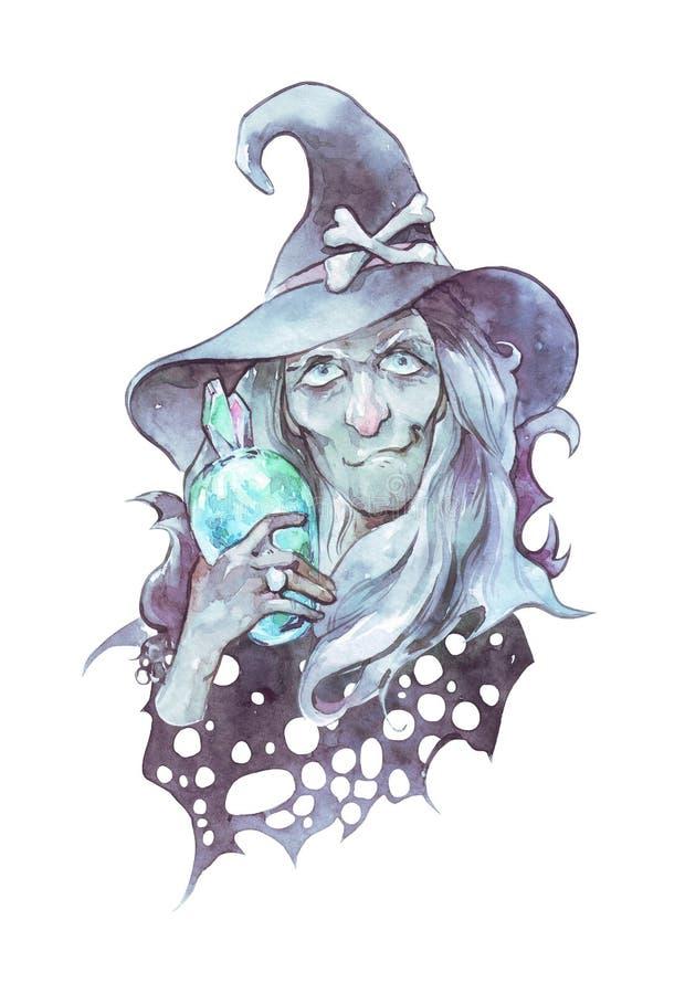 Alte gerochene Hexe mit magischer Flasche lizenzfreie abbildung