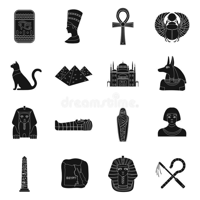 Alte gesetzte Ikonen Ägyptens in der schwarzen Art Große Sammlung der altes Ägypten-Vektorsymbol-Vorratillustration vektor abbildung