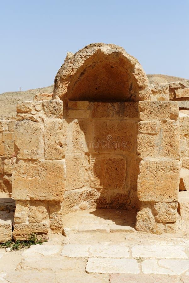 Alte gewölbte Nische in Mamshit-Aushöhlungen in Israel lizenzfreies stockfoto