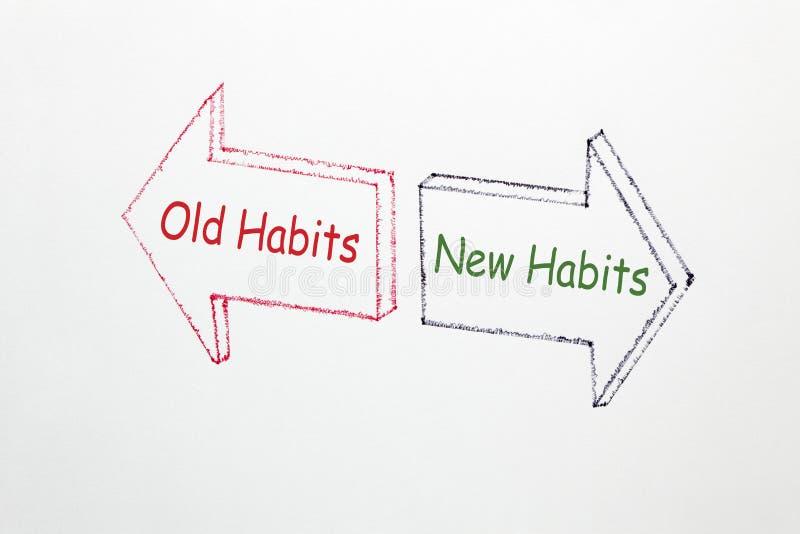 Alte Gewohnheiten und neue Gewohnheiten stockbilder