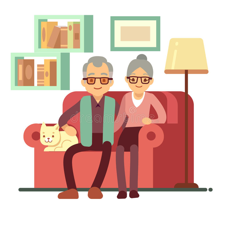 Alte glückliche Familie - Ehemann und Frau auf Sofa zu Hause Ruhestandsvektorkonzept lizenzfreie abbildung