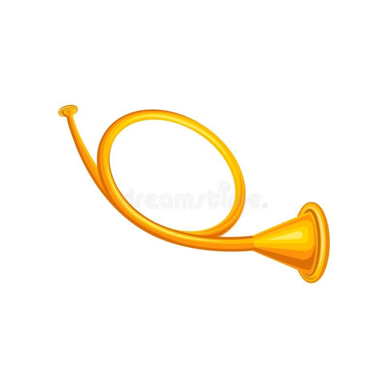 Alte goldene Jagdhorntrompete Konzept des Messingmusikinstrumentes Dekoratives Element für Promoplakat, Fahne oder stock abbildung