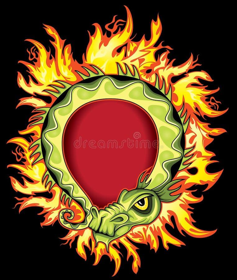 Alte grüne chinesische exotische Illustration des grünen Drachen im Feuer flammt stock abbildung