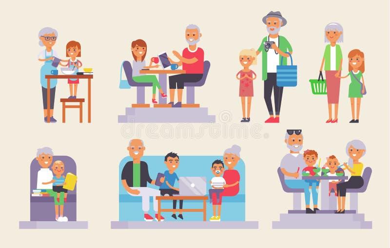 Alte Großvater- und Großmutter- und yound Kinderkinderleutegruppe europäische Generationen Mann und alte und junge Leute der Frau vektor abbildung