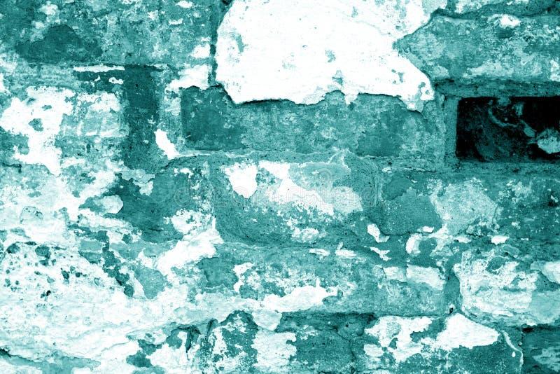 Alte grungy Backsteinmauerbeschaffenheit im cyan-blauen Ton lizenzfreies stockbild