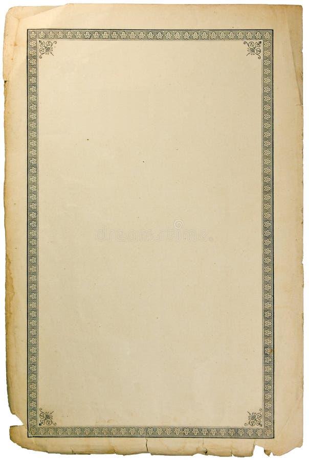 Alte grungy Buchpapier-Blatseite mit Vignette lizenzfreie stockfotos