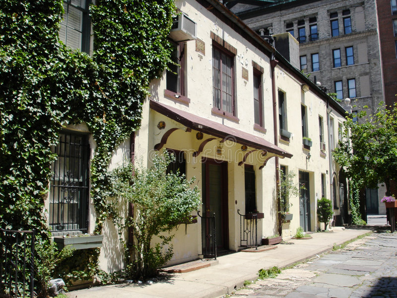 Alte Häuser im Greenwich Village, NY lizenzfreie stockfotos