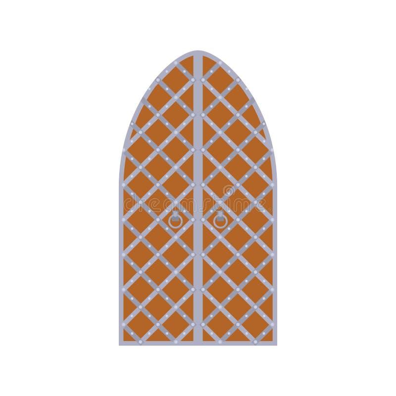 Alte hölzerne Bogentür mit Metallgitterikone stock abbildung