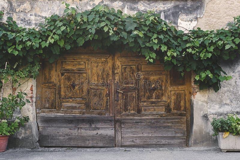 Alte hölzerne doppelte Tür auf einem Altbau lizenzfreies stockfoto