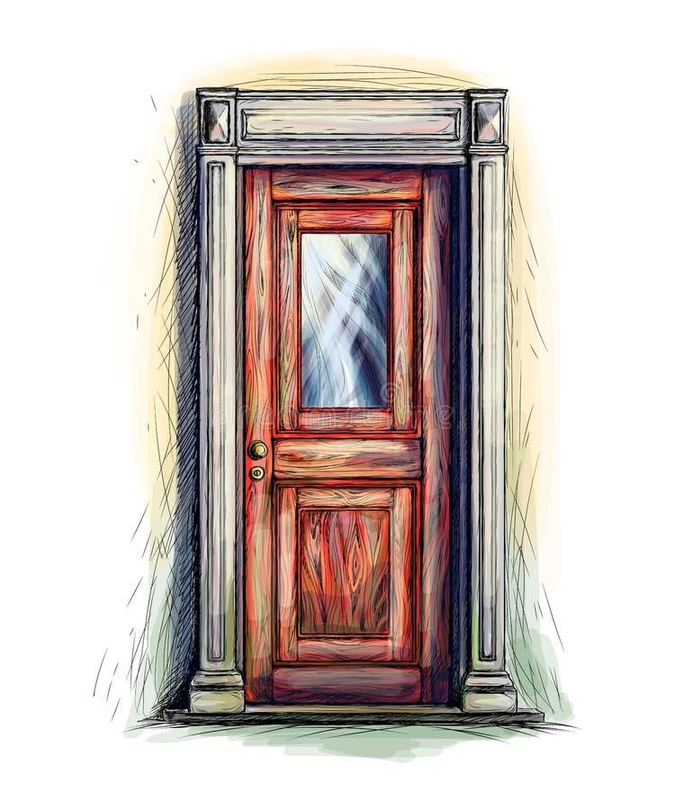 Alte hölzerne Tür vektor abbildung