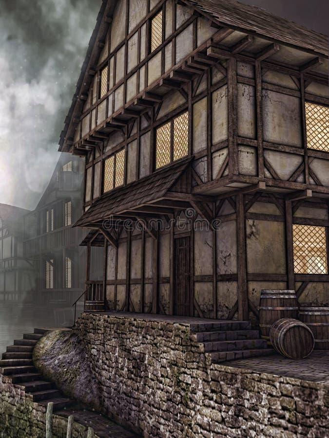 Alte hölzerne Taverne stock abbildung