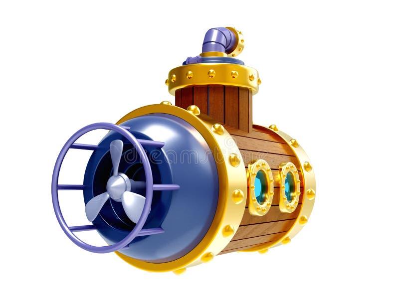 Alte hölzerne Unterseebootrückseite vektor abbildung
