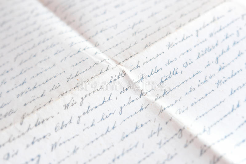 Alte handgeschriebene Briefpost, deutsche Handschrift stockfotos