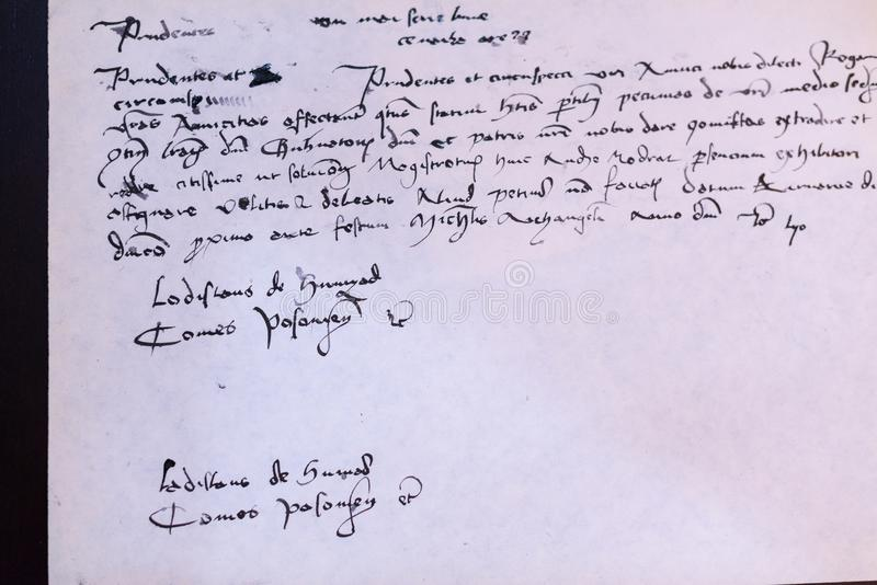 Alte Handschrift stockbilder