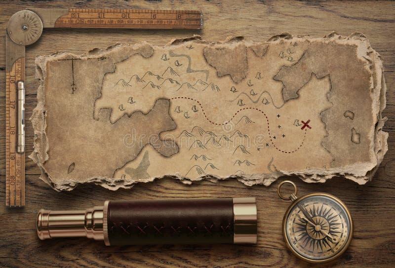Alte heftige Schatzkarte mit Draufsichtstillleben des Kompassses und des Fernglases Abenteuer- und Reisekonzept Abbildung 3D stockbild