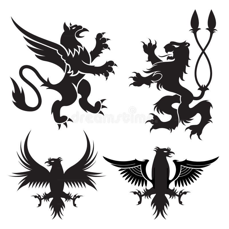 Alte heraldische Greifsymbole von schwarzen majestätischen Tieren mit Körper des Löwes, der Engelsflügel und der Adlerköpfe Für h vektor abbildung