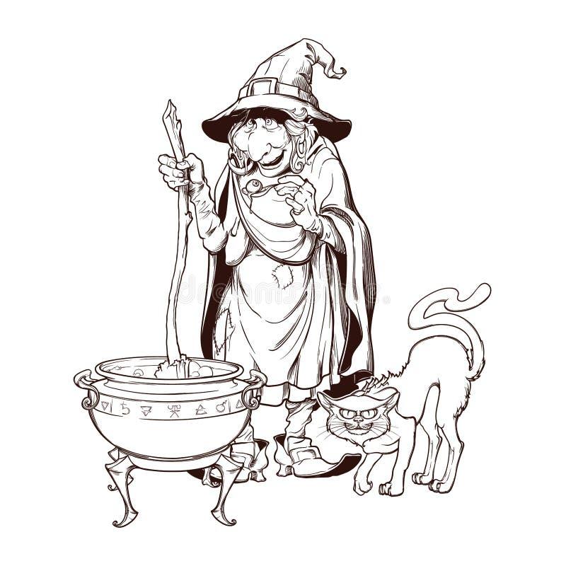 Alte Hexe in einem Kegelhut mit ihrer schwarzen Katze, die einen Zaubertrank in einem großen Kessel braut Halloween-Karikaturartc lizenzfreie abbildung