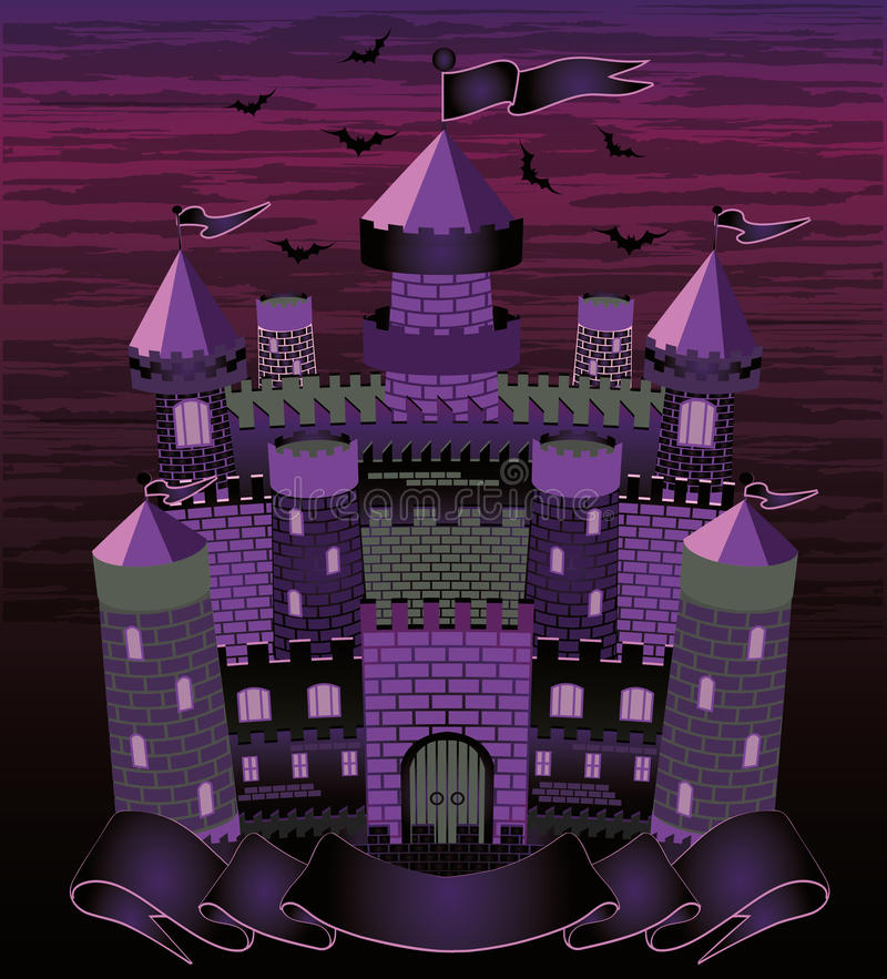 Alte Hexe frequentierte Schlosskarte vektor abbildung
