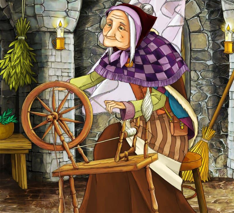 Alte Hexe im alten Raum - Illustration für verschiedene Themen lizenzfreie abbildung