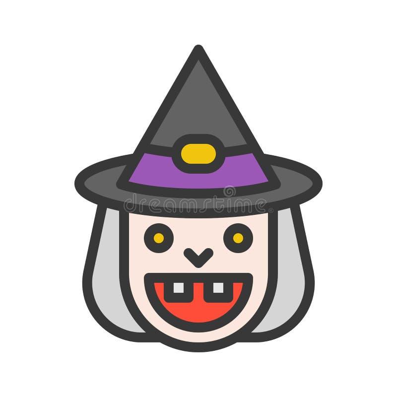 Alte Hexen- und Hexenhutikone des Lächelns, Halloween-Charakter, editabl lizenzfreie abbildung