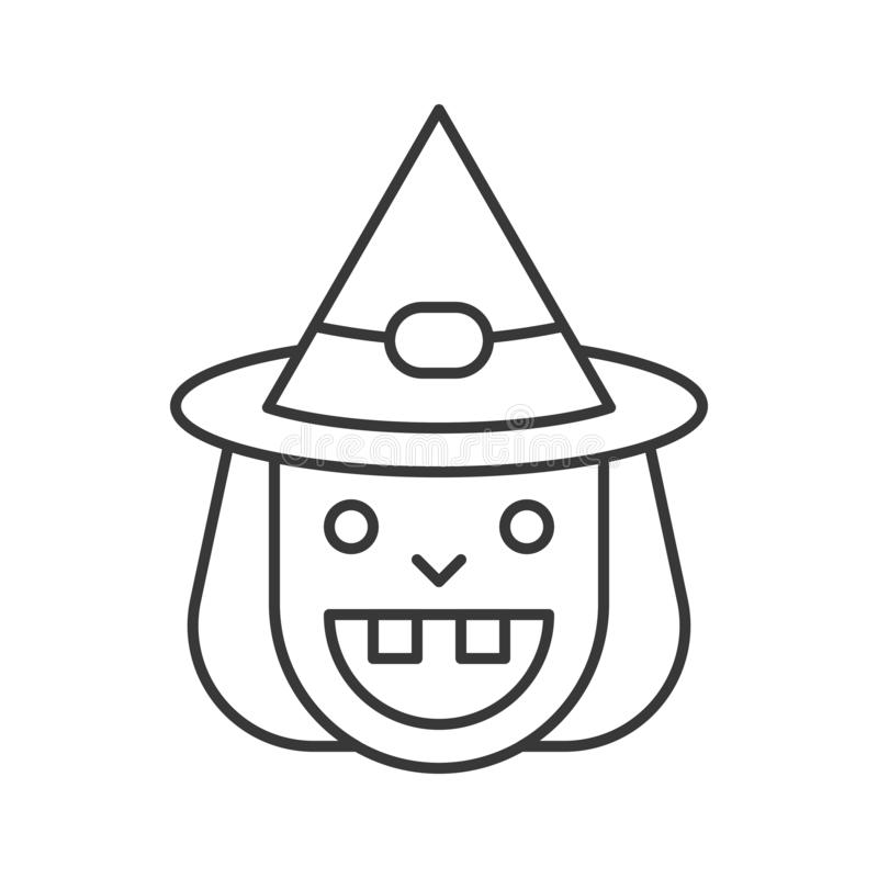 Alte Hexen- und Hexenhutikone des Lächelns, Halloween-Charakter, editabl stock abbildung