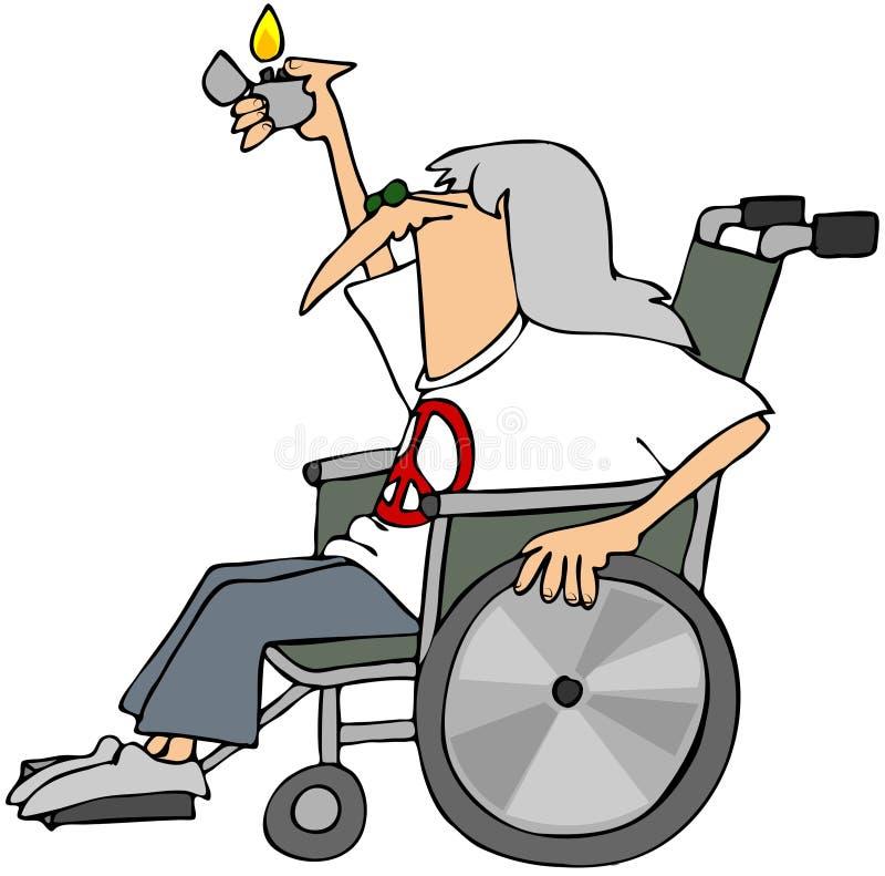 Alte Hippie in einem Rollstuhl lizenzfreie abbildung