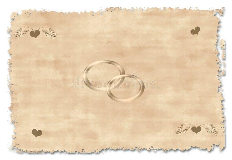 Alte Hochzeitseinladung lizenzfreie abbildung