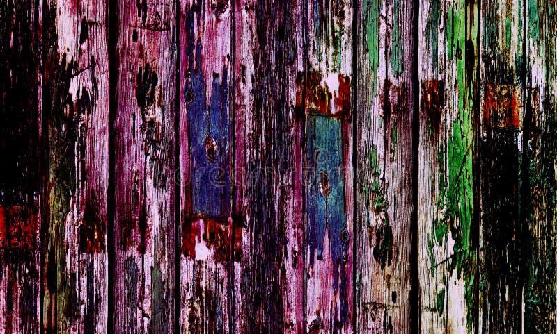 Alte Holztür mit multi farbiger Farbe stockfoto