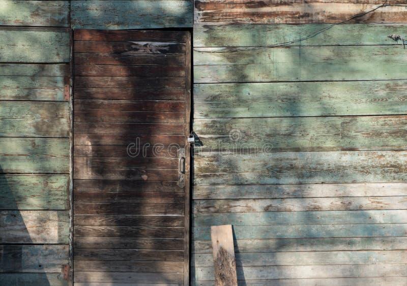 Alte Holztür und grüne Wand stockfotografie