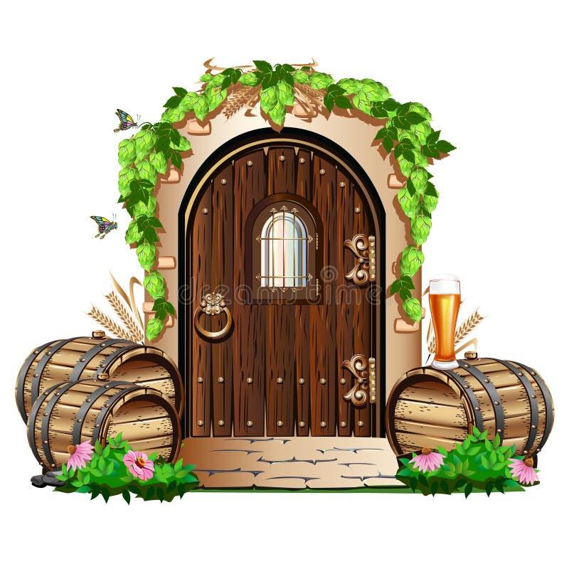 Alte Holztür zur Kneipe stock abbildung