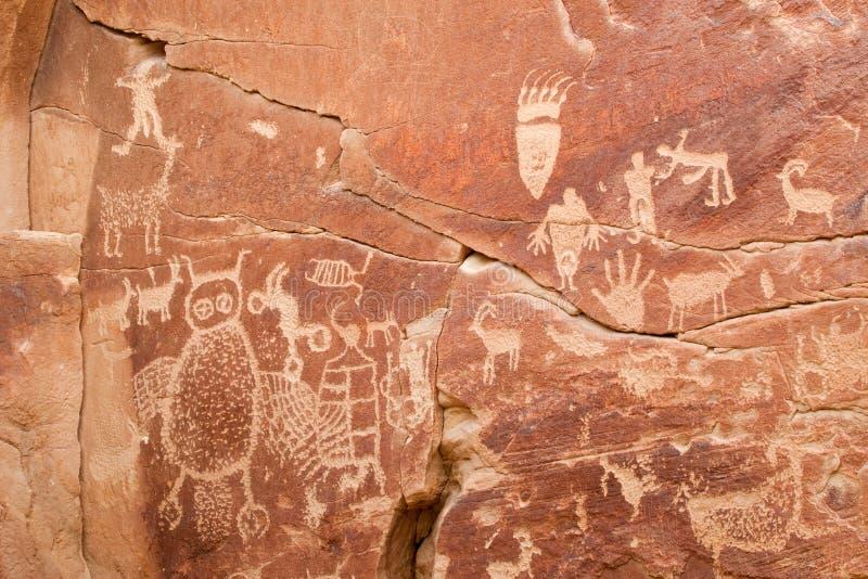 Alte indische Petroglyphe lizenzfreies stockbild