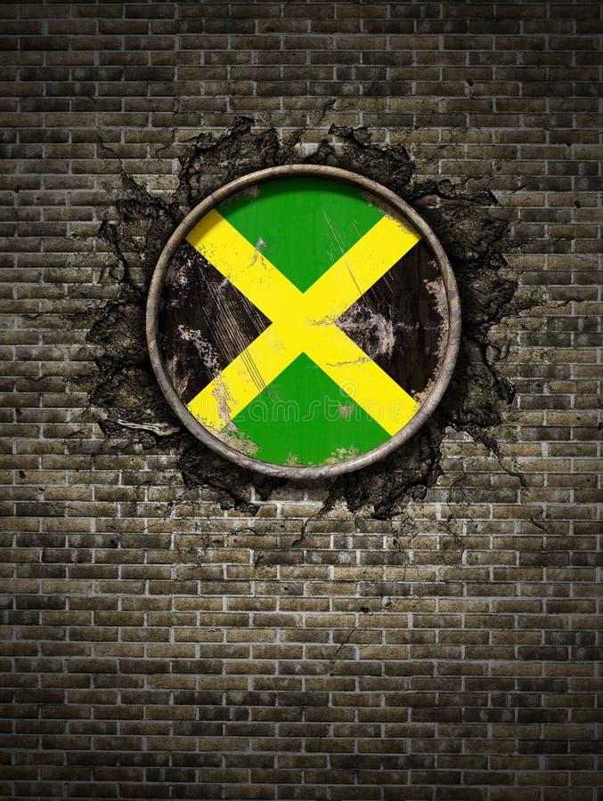Alte Jamaika-Flagge in der Backsteinmauer lizenzfreie abbildung