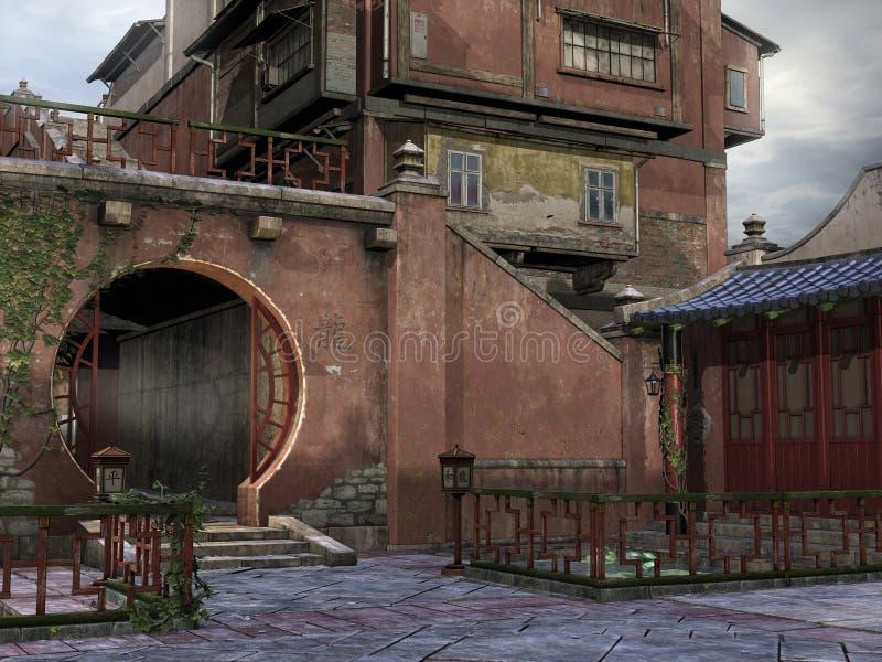 Alte japanische Stadt stock abbildung