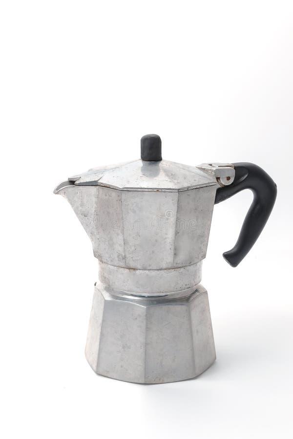 Alte Kaffeemaschine in der Weinleseart lokalisiert lizenzfreies stockbild